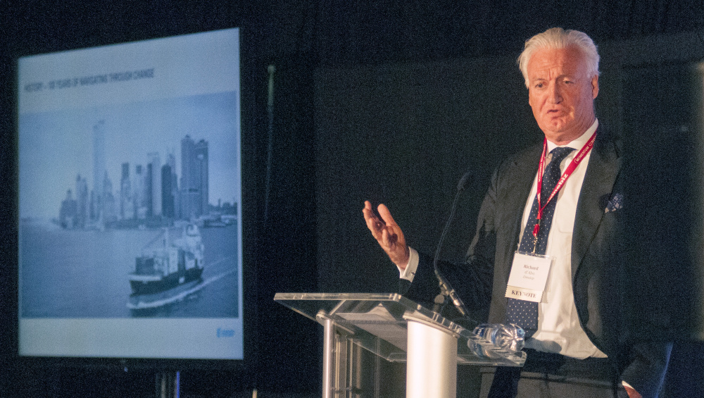 Eimskip Chairman of the Board Richard d'Abo speaks on Wednesday in the Augusta Civic Center.