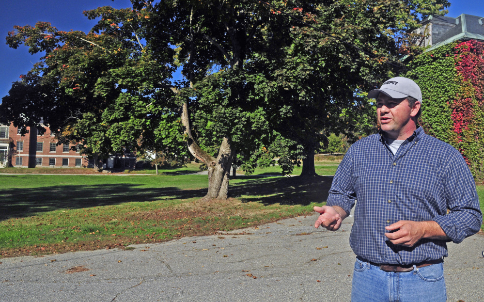 Developer Matt Morrill talks about the Stevens Commons project in Hallowell during a tour in October.